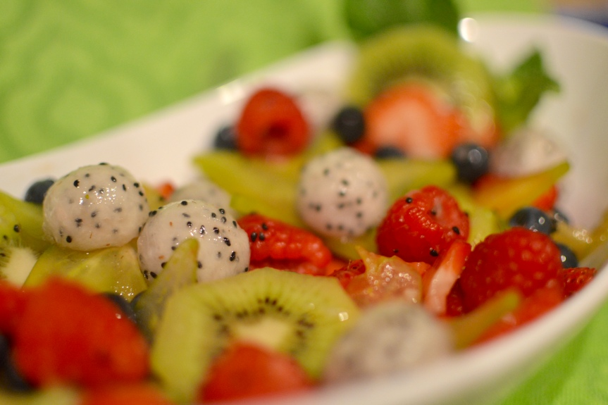 Exotic Fruit Salad with Vegan Cream CheeseDip