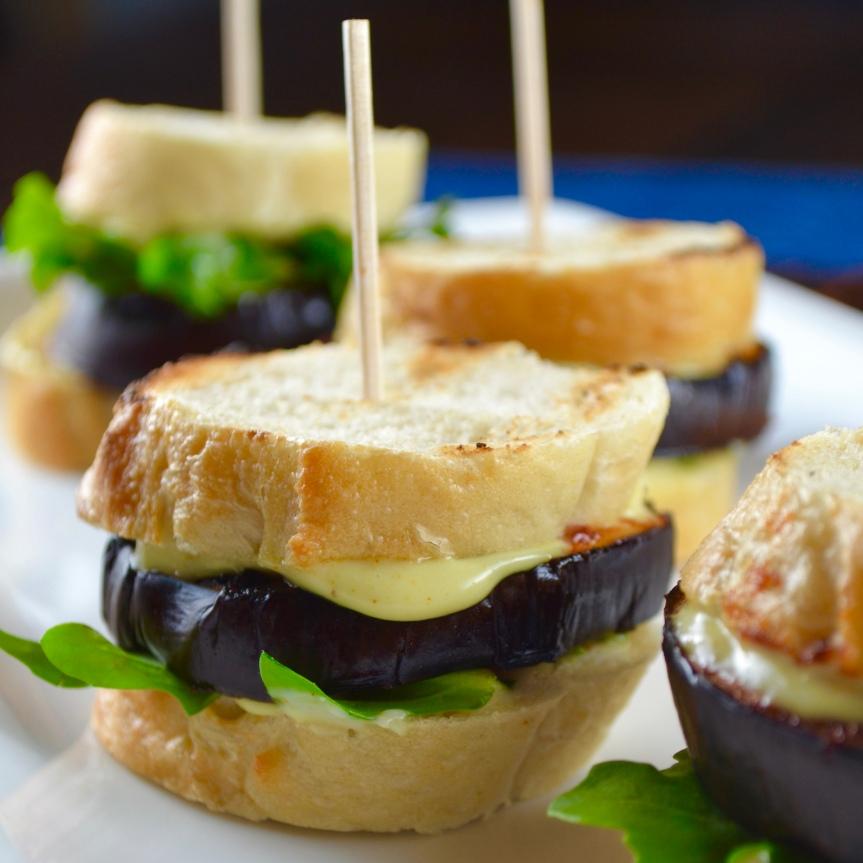 Grilled Eggplant Sliders with Garlic Horseradish Aioli