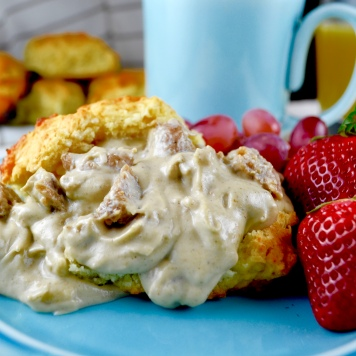 "Alt=""Vegan Biscuits and Sausage Gravy"""