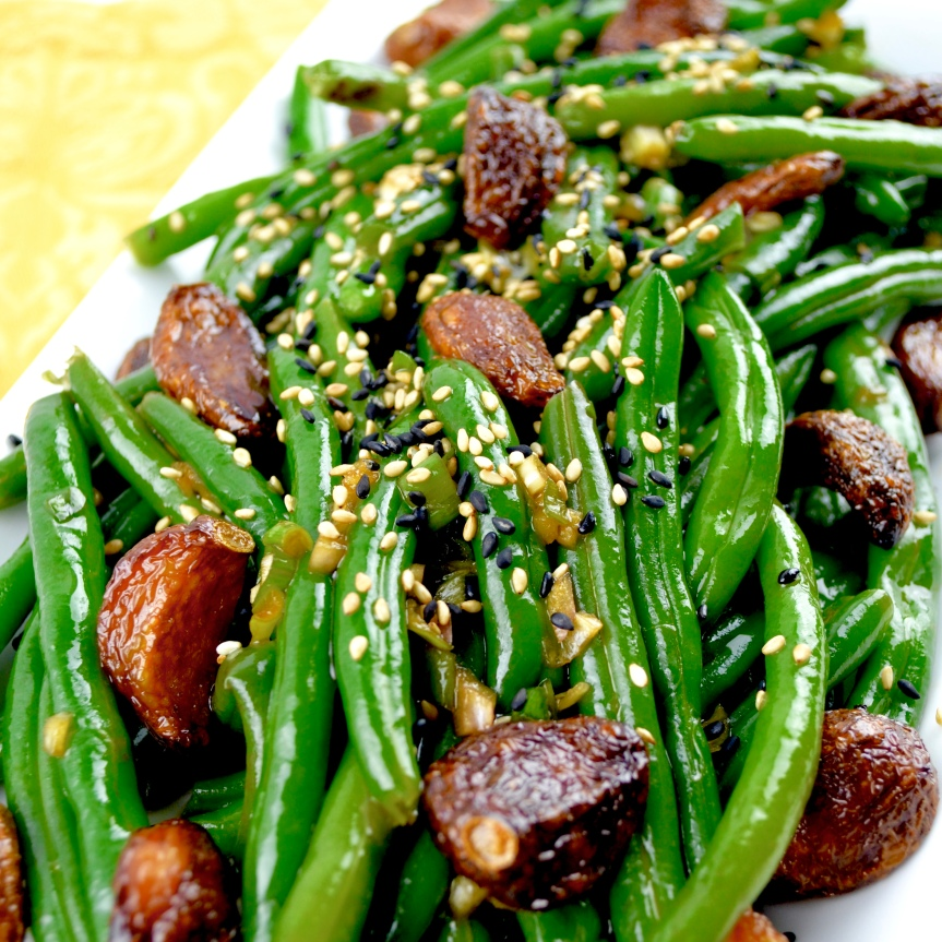 "Alt=""Sesame Green Beans with Crispy Garlic"""